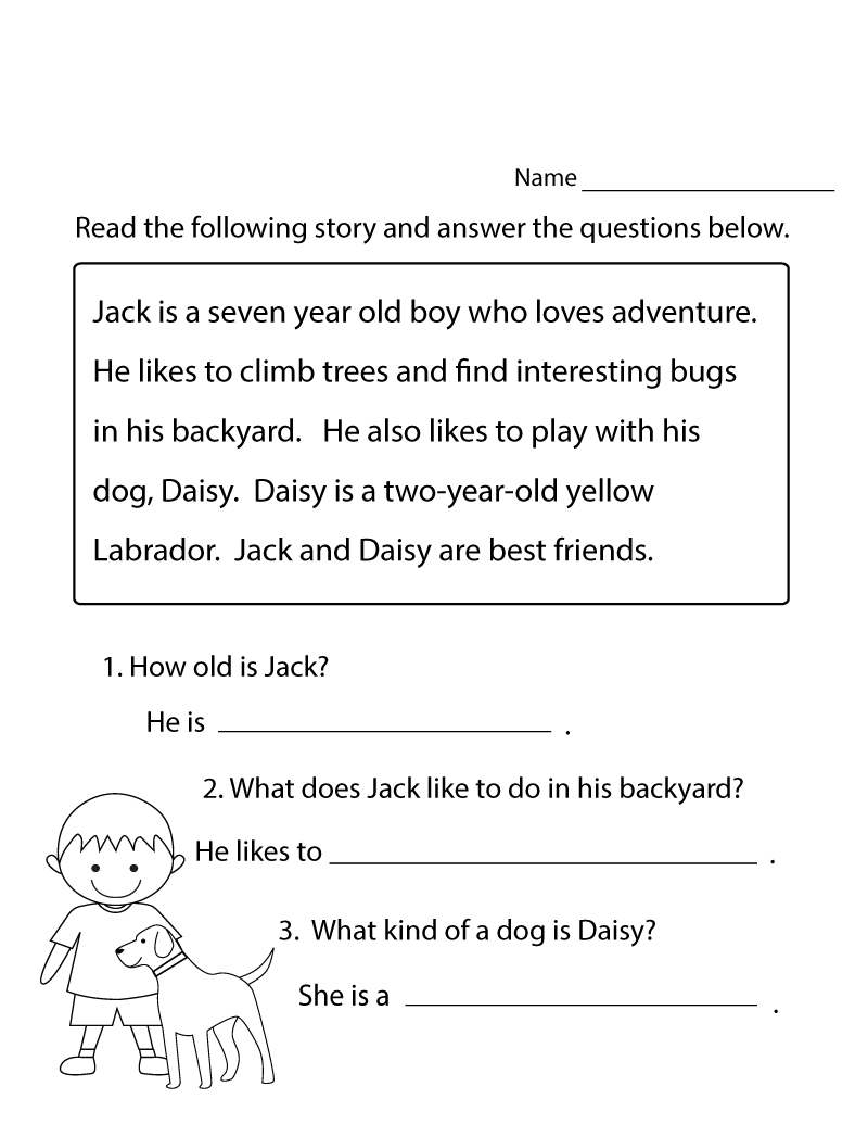 Printable Reading Worksheets Kindergarten
