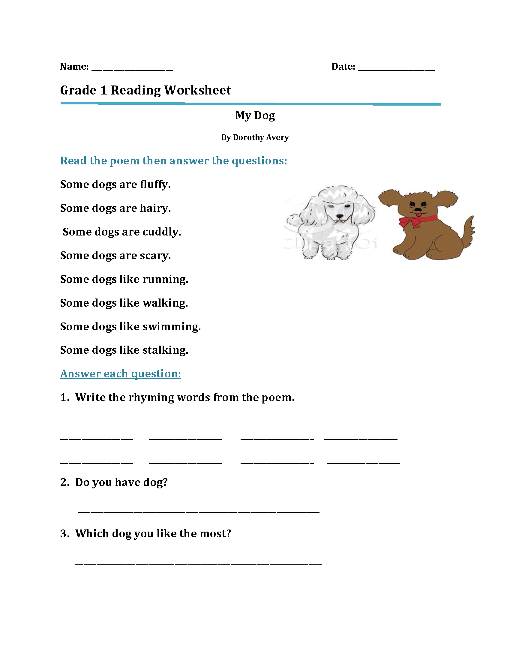 Reading Worksheets 1st
