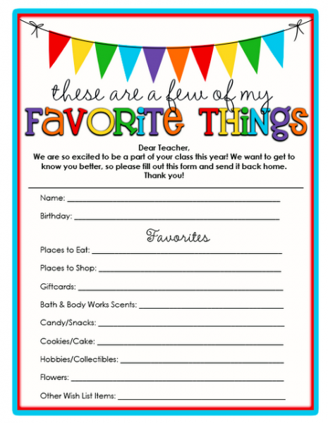 Teacher Printables Favorite