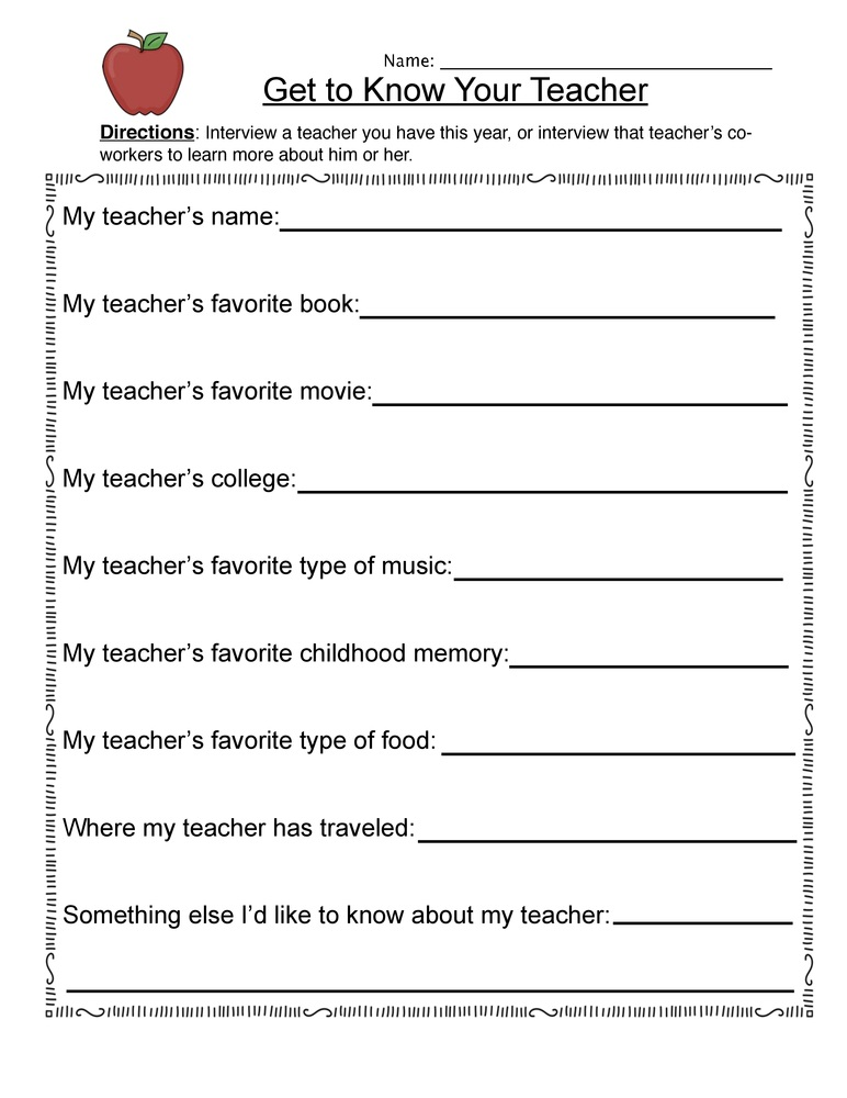Teacher Sheets About