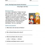 1st Grade Worksheets Reading Comprehension