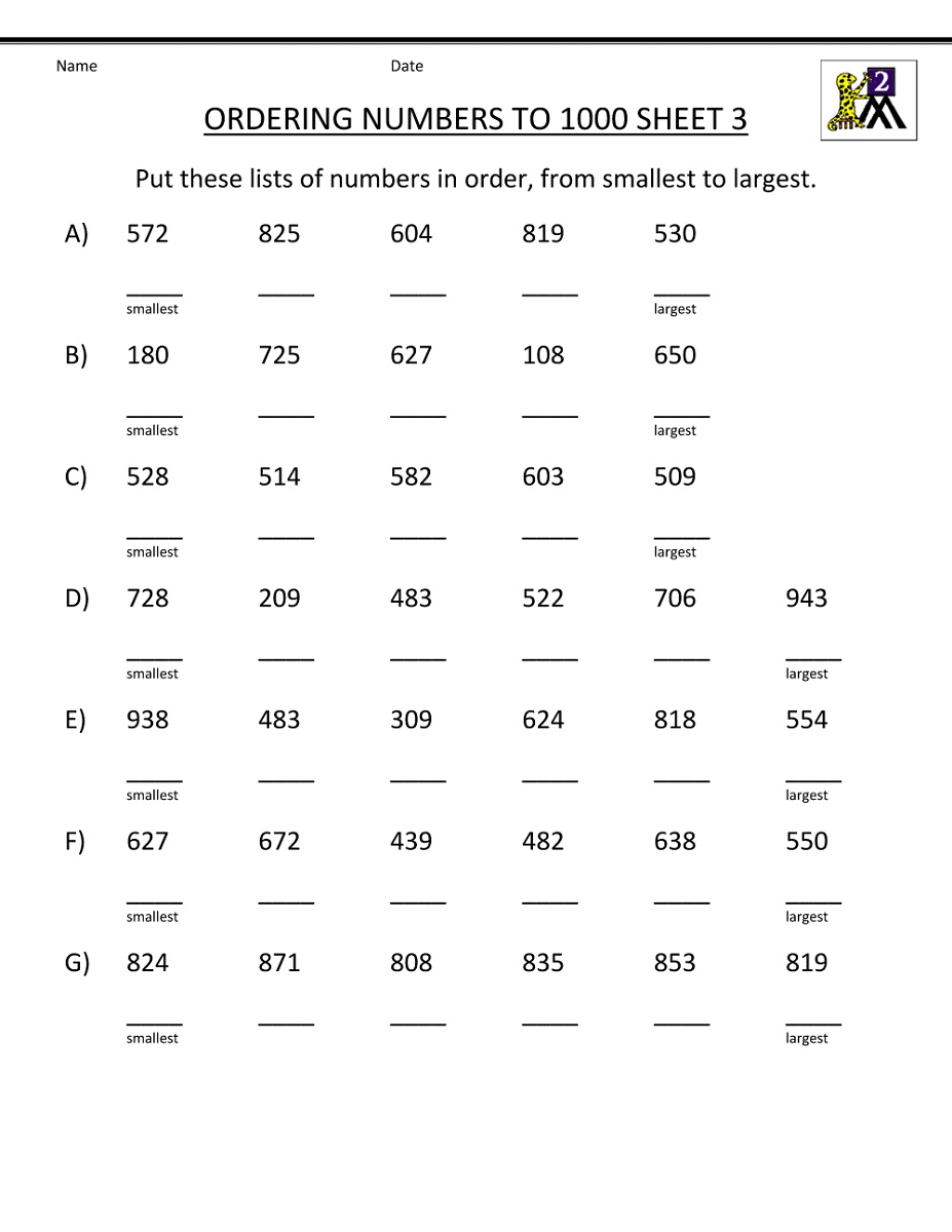 2nd Grade Math Worksheets Ordering Numbers