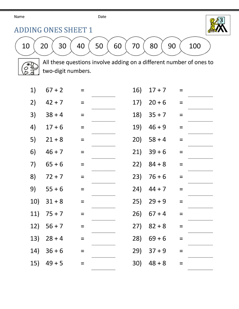 3rd Grade Worksheets Addition