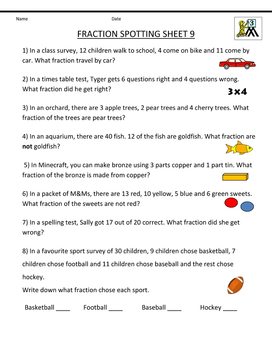 3rd Grade Worksheets Fraction