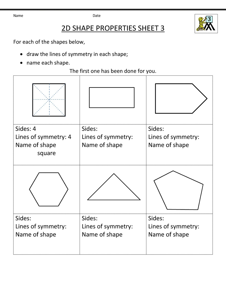 3rd Grade Worksheets Geometry