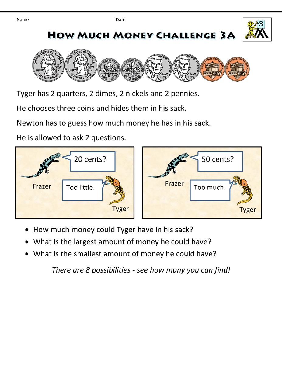 3rd Grade Worksheets Money
