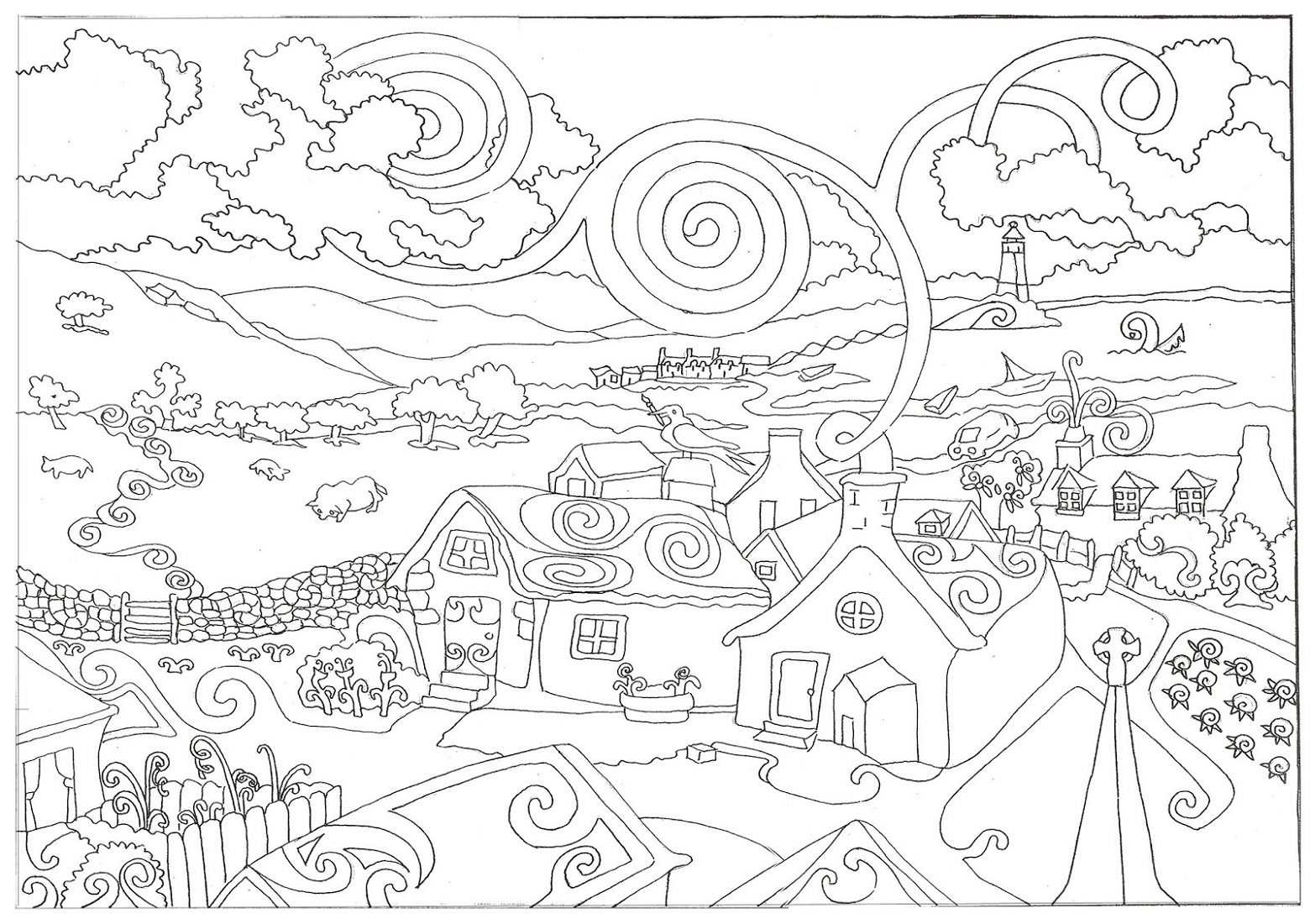 Adult Coloring Books Scenery