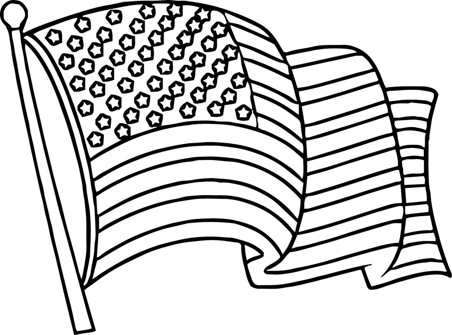 American Flag Coloring Page Waving