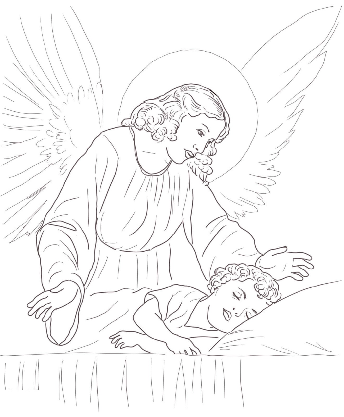 Angel Coloring Pages Over Sleeping Child
