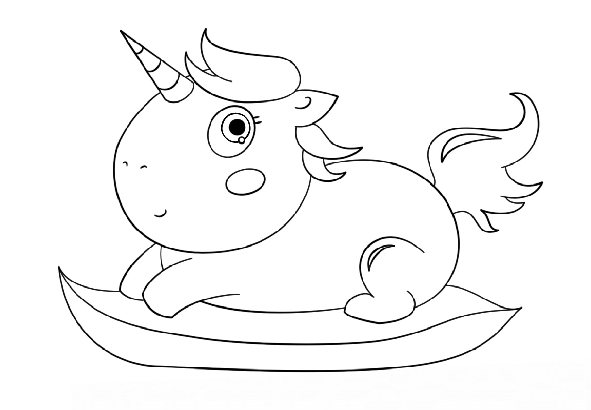 Baby Unicorn Coloring Pages Chibi