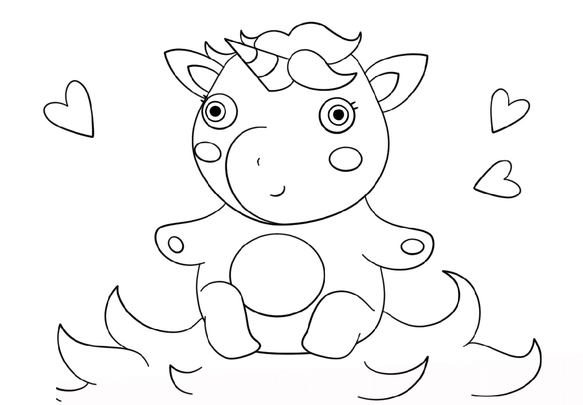 Baby Unicorn Coloring Pages Cute