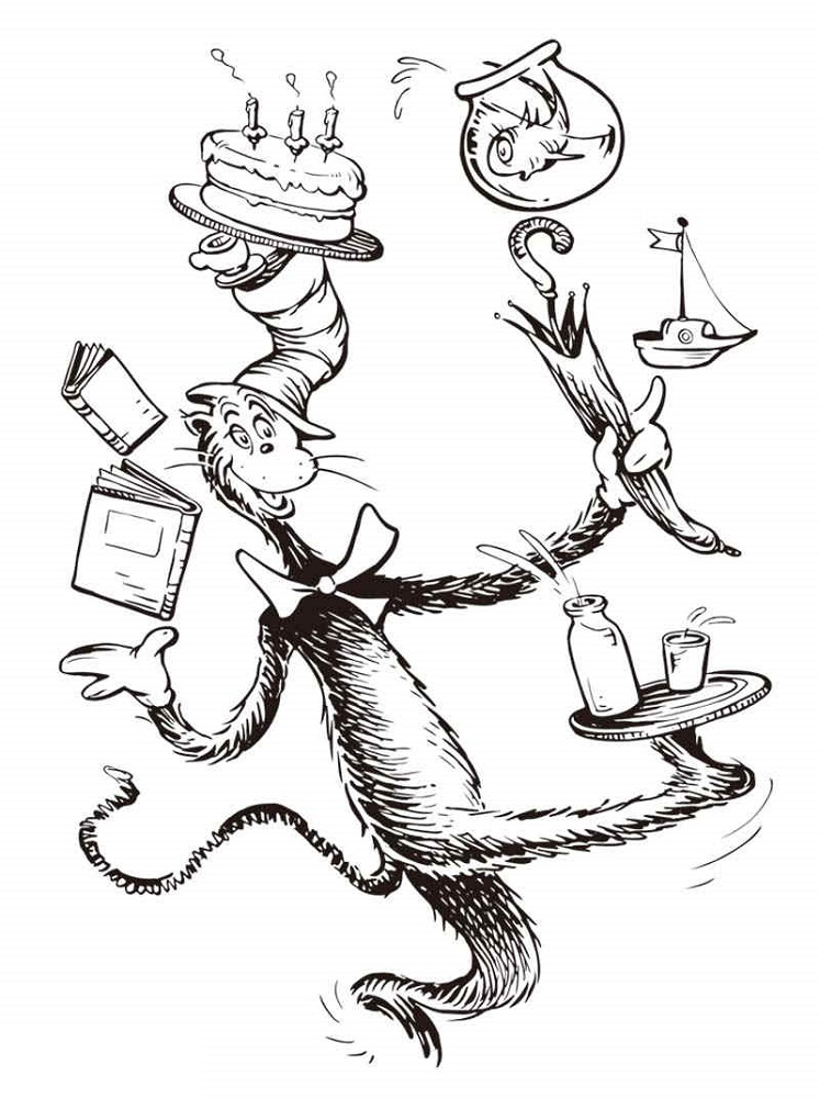 Cat In The Hat Coloring Pages Dr Seuss Character