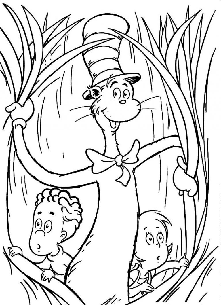 cat in the hat coloring pages - 700×965