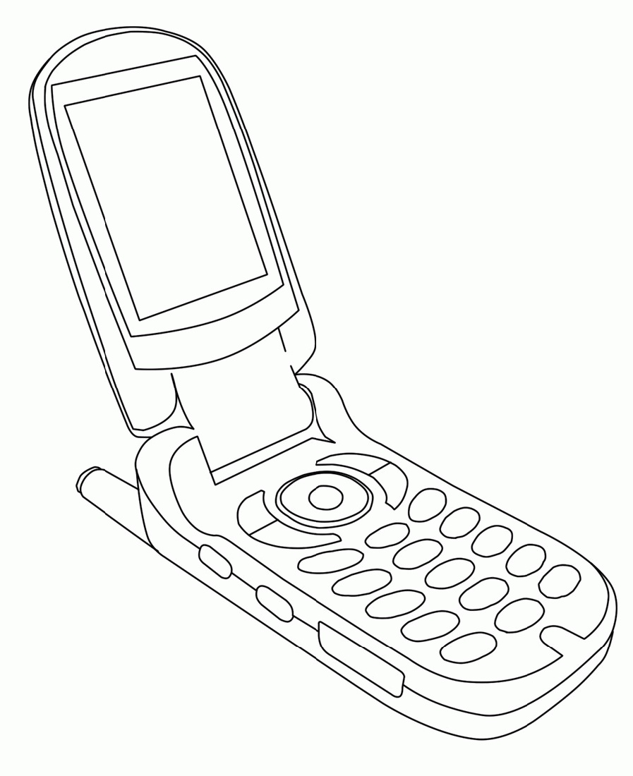 Cell Phone Coloring Page Printable