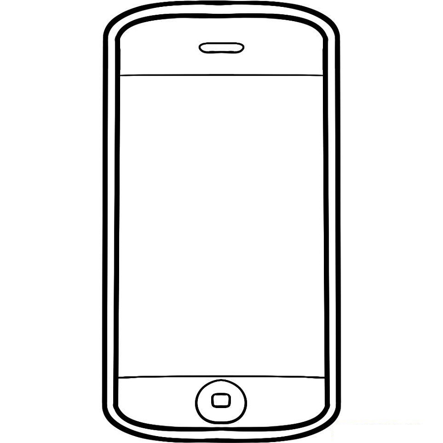 Cell Phone Coloring Page Touchscreen