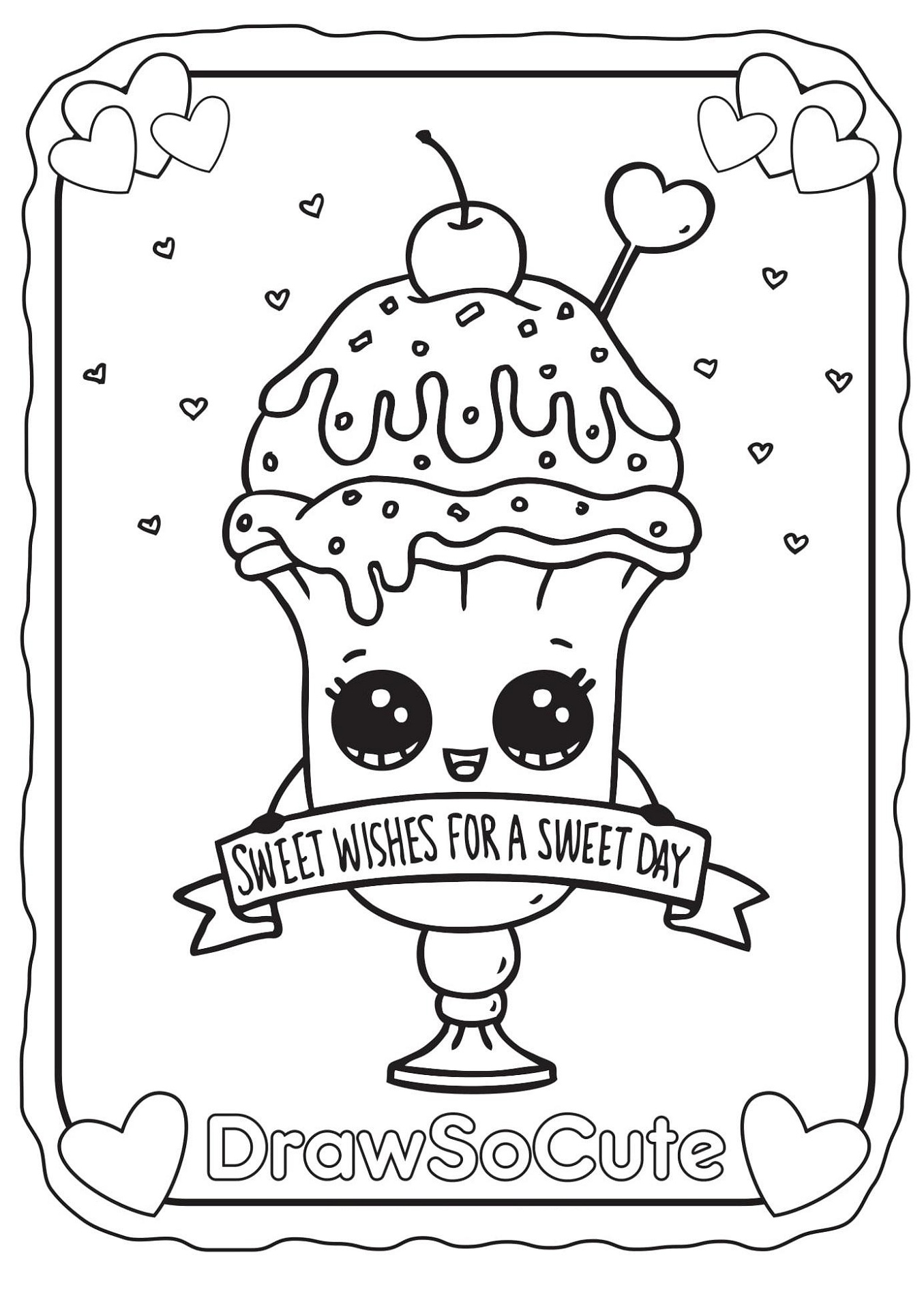 Cute Food Coloring Pages Sweet