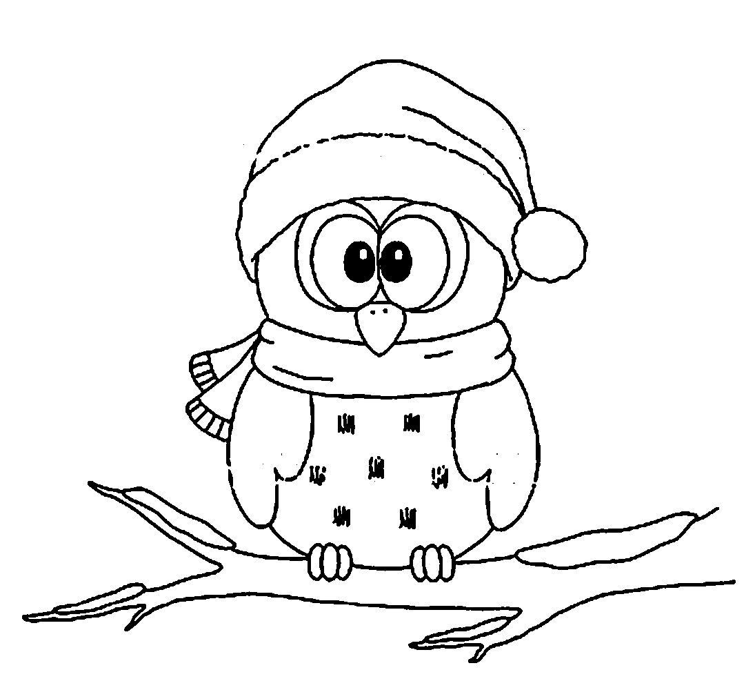 Cute Owl Coloring Pages Christmas