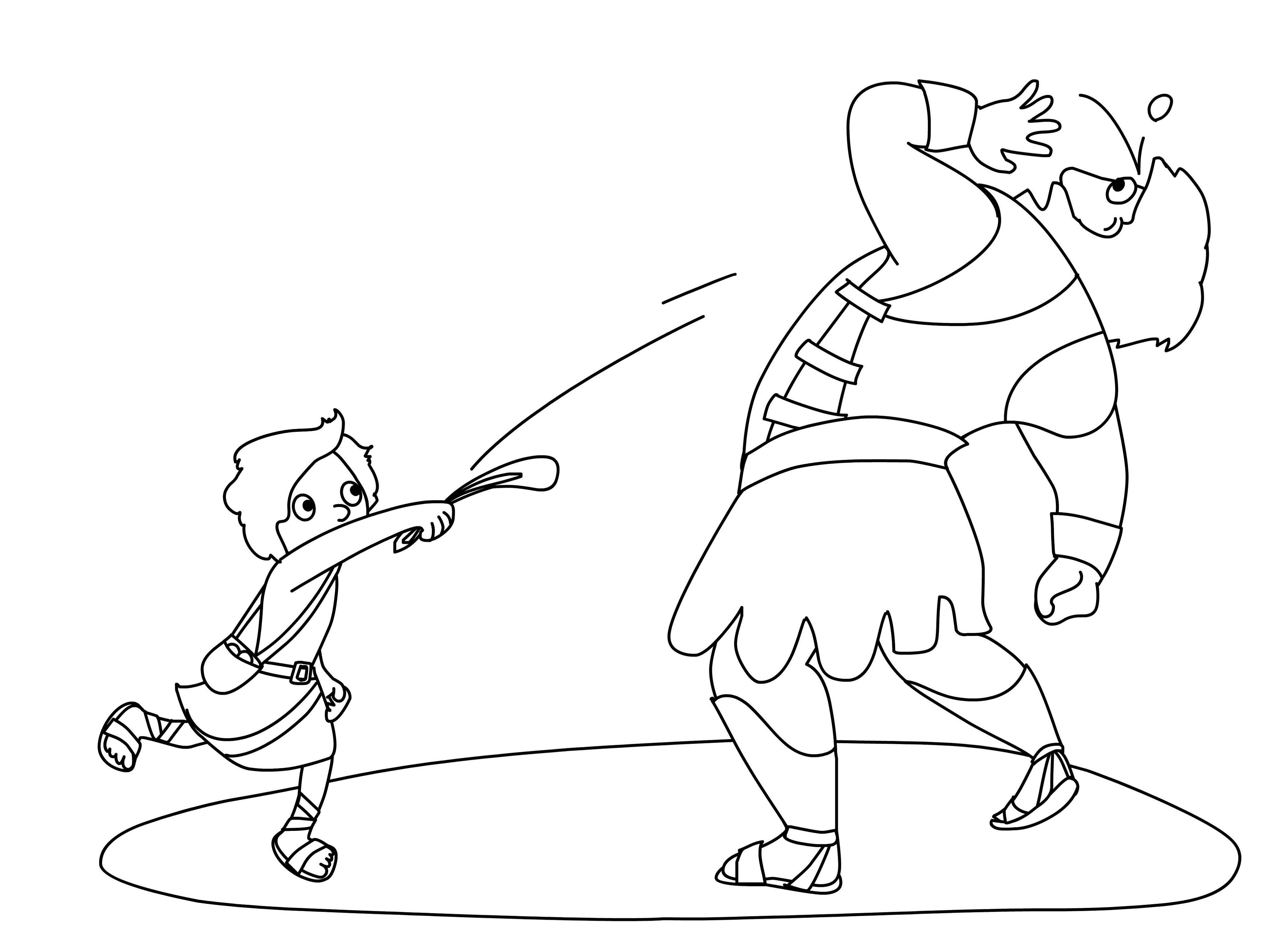David And Goliath Coloring Page Preschool