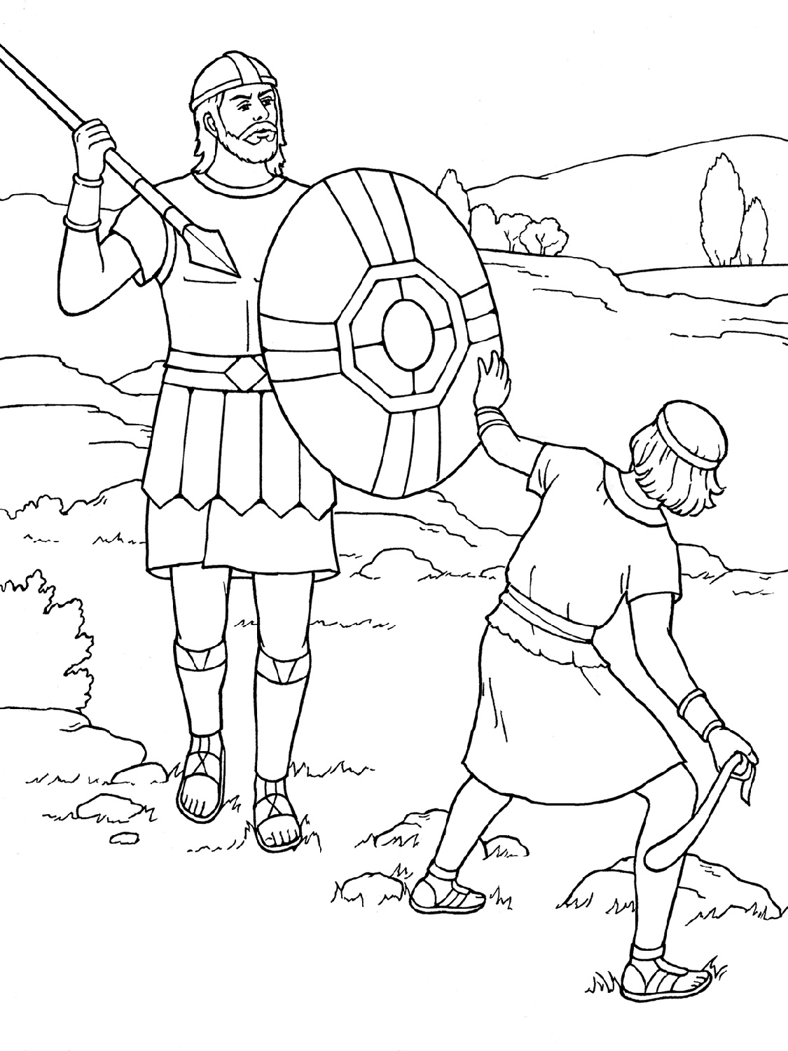 David And Goliath Coloring Page Printable