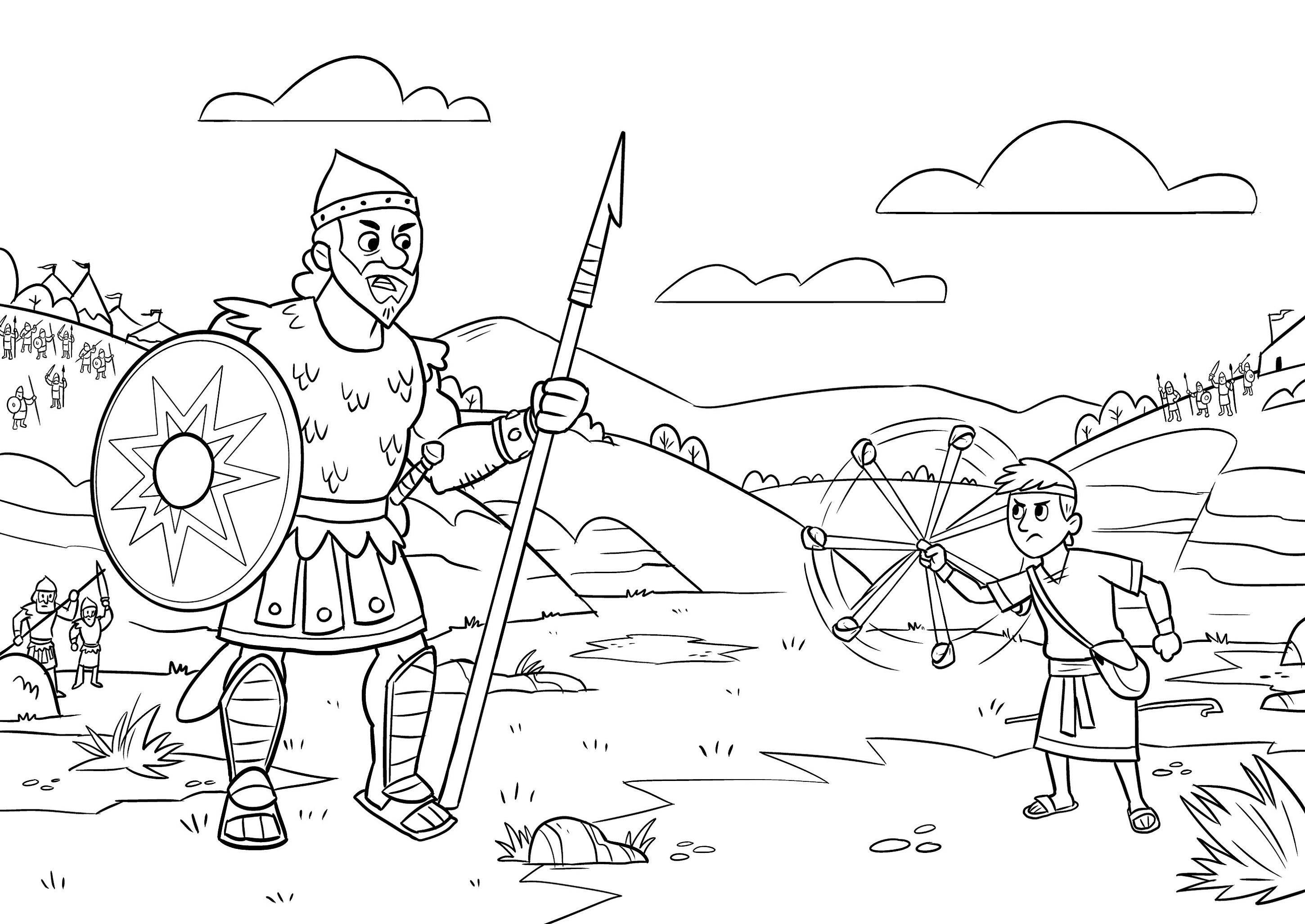 David And Goliath Coloring Page To Print