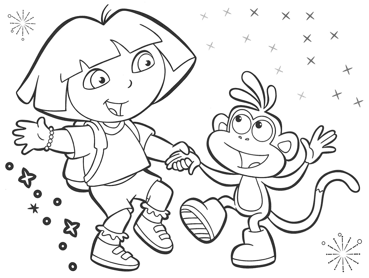 Dora Coloring Pages And Boots