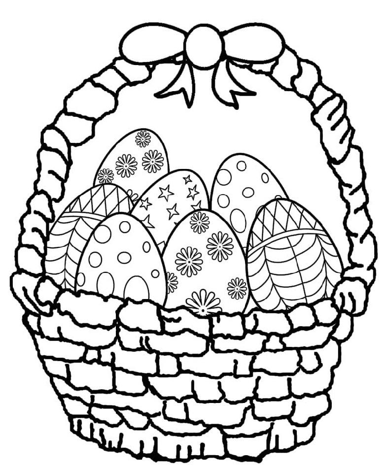 Easter Egg Coloring Pages Basket