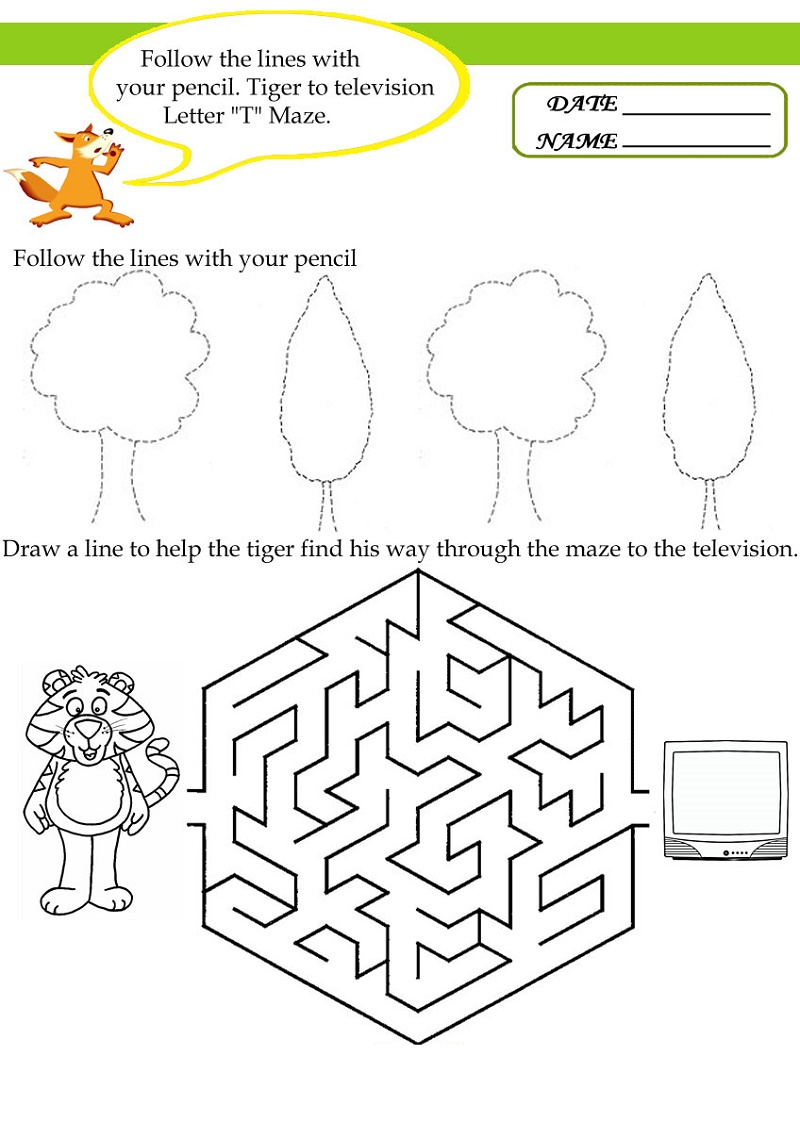 Educational Worksheets For Preschoolers Letter T
