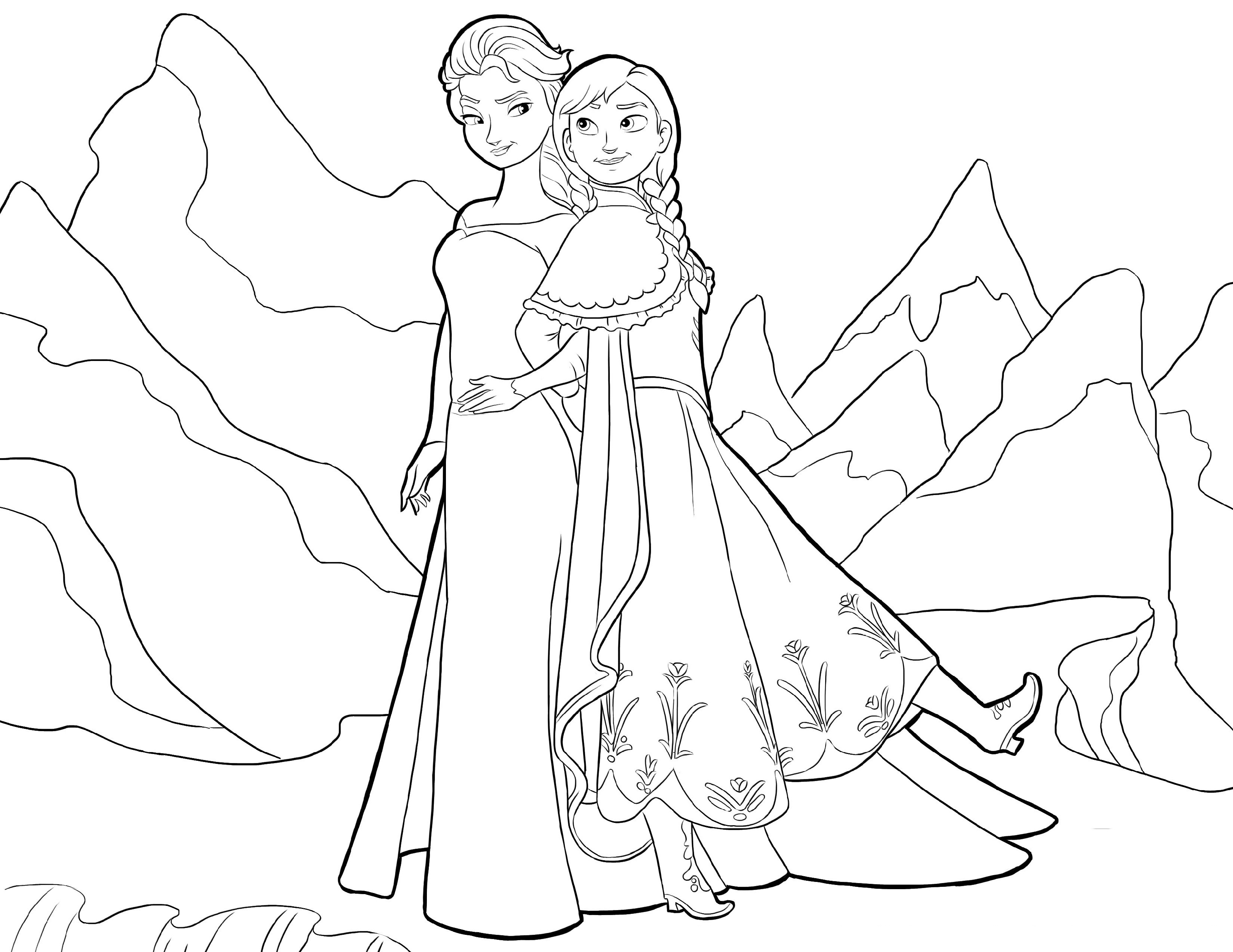 Elsa And Anna Coloring Pages Free