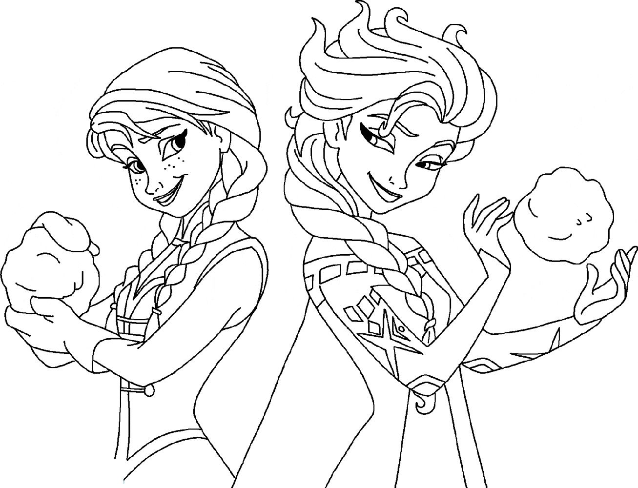 Elsa And Anna Coloring Pages Frozen