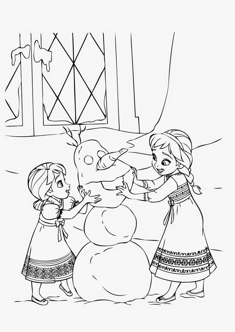 Elsa And Anna Coloring Pages Kids