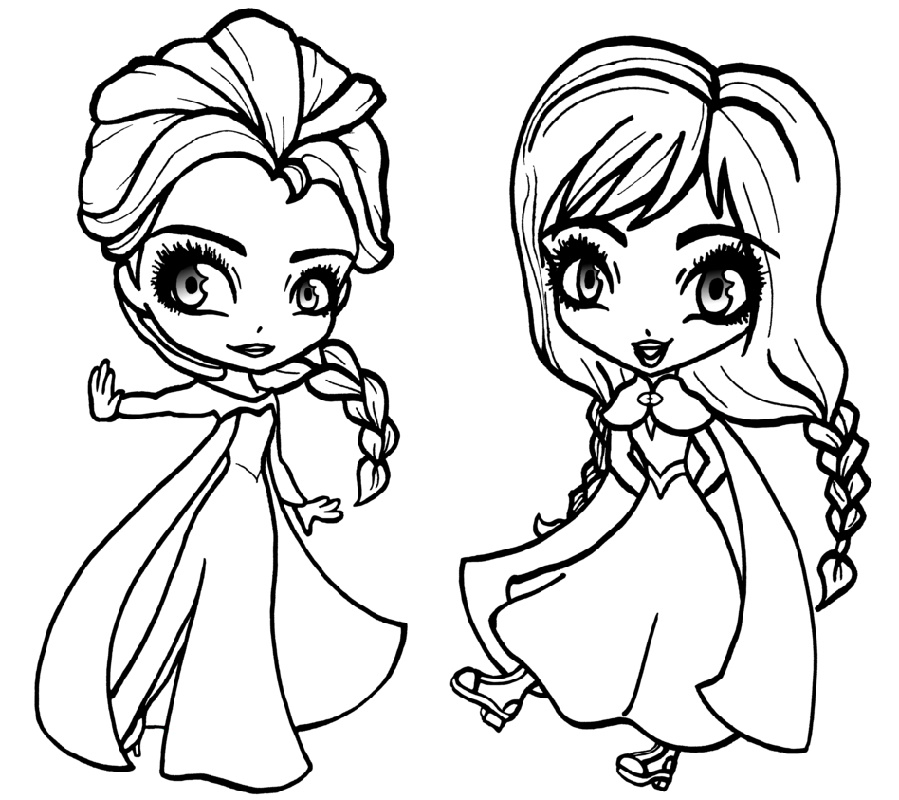 Elsa Coloring Pages Chibi