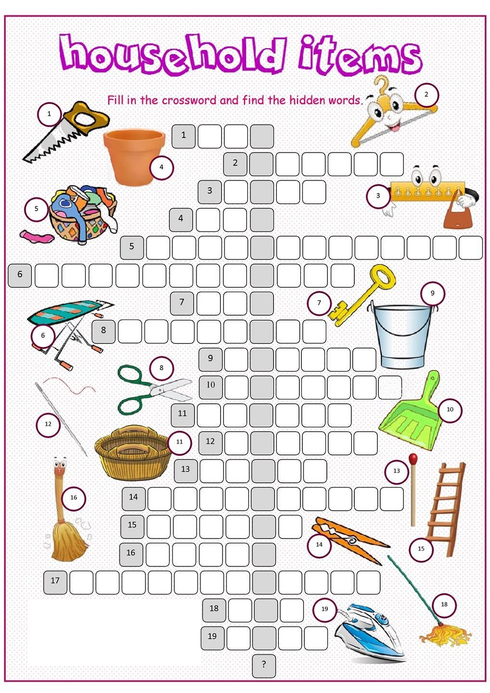 English Worksheets For Kids Crossword