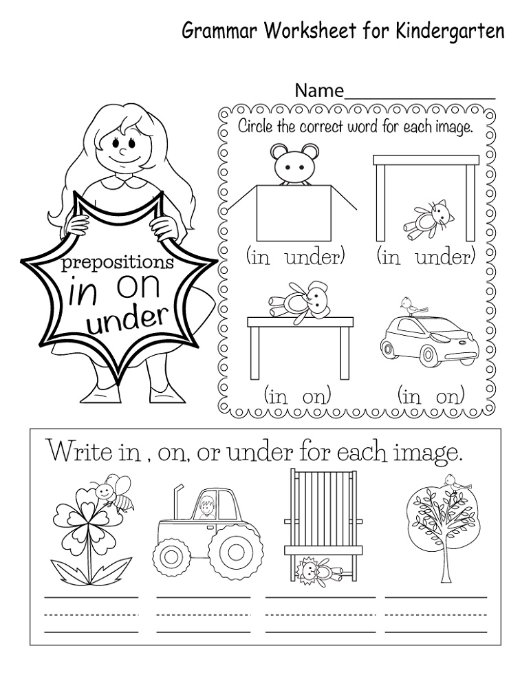 English Worksheets For Kids Prepositions