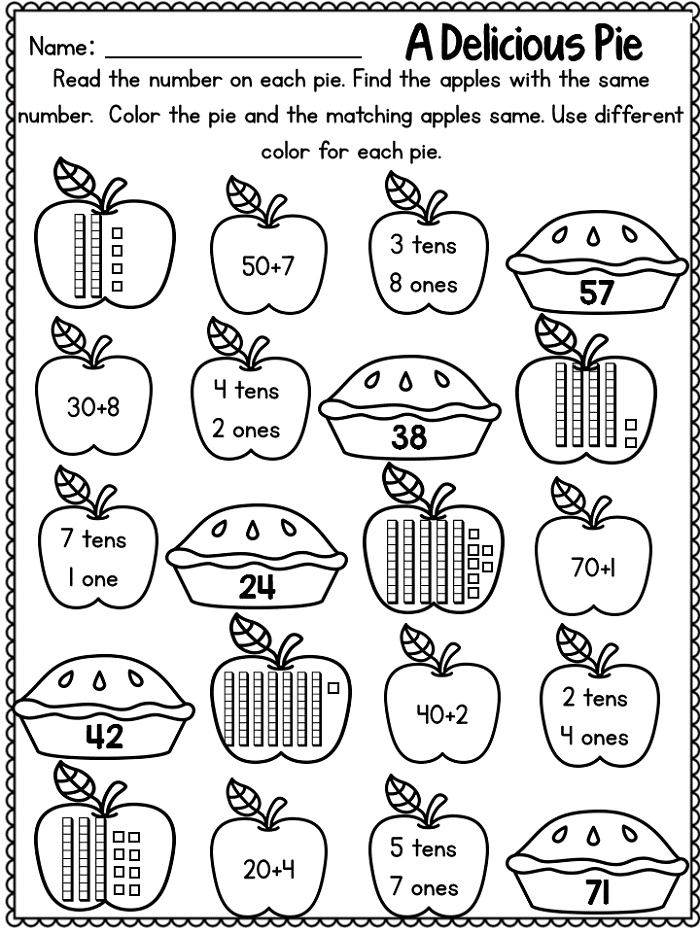 First Grade Math Worksheets Fall Activities