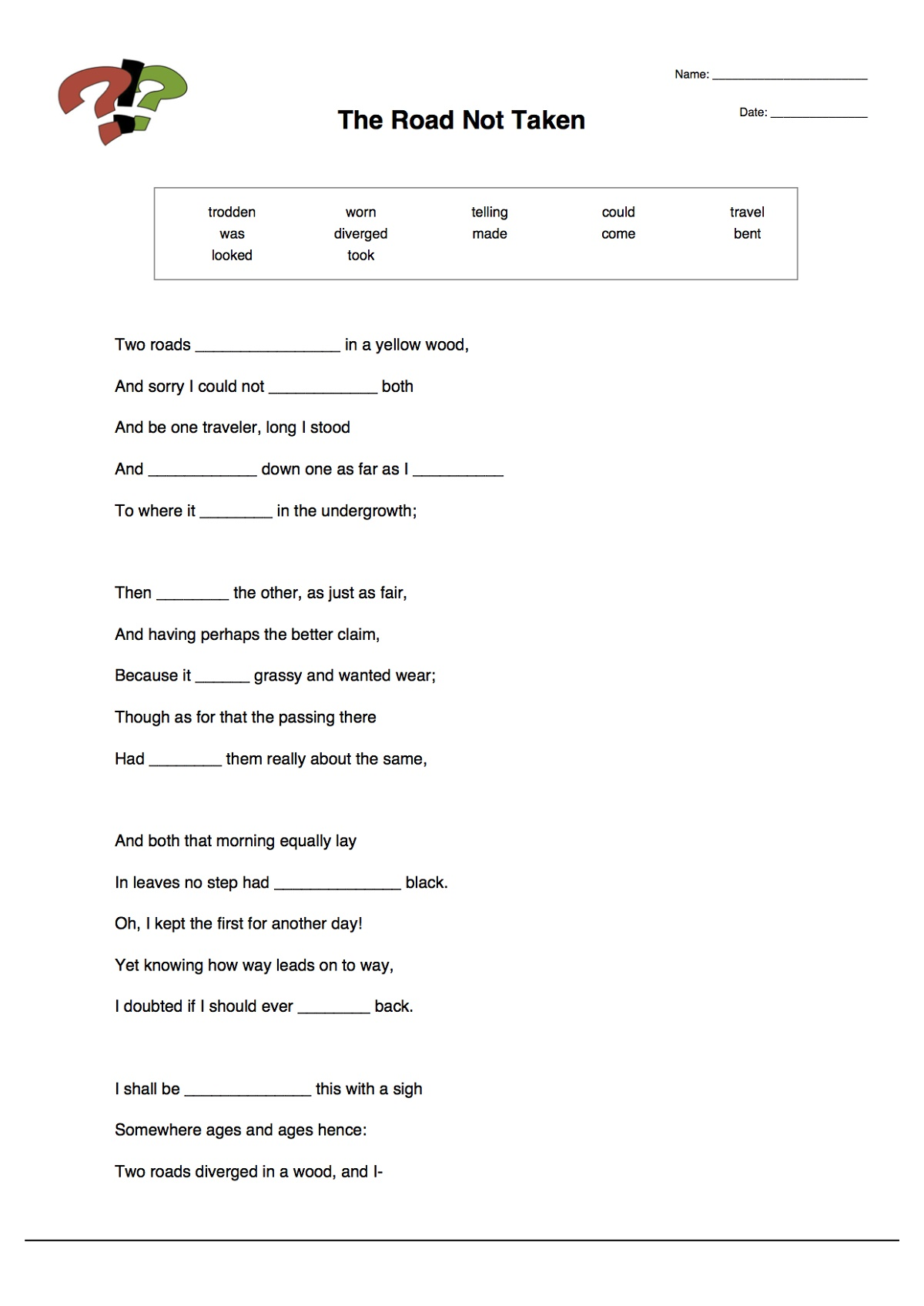 First Grade Worksheets Fill In The Blank