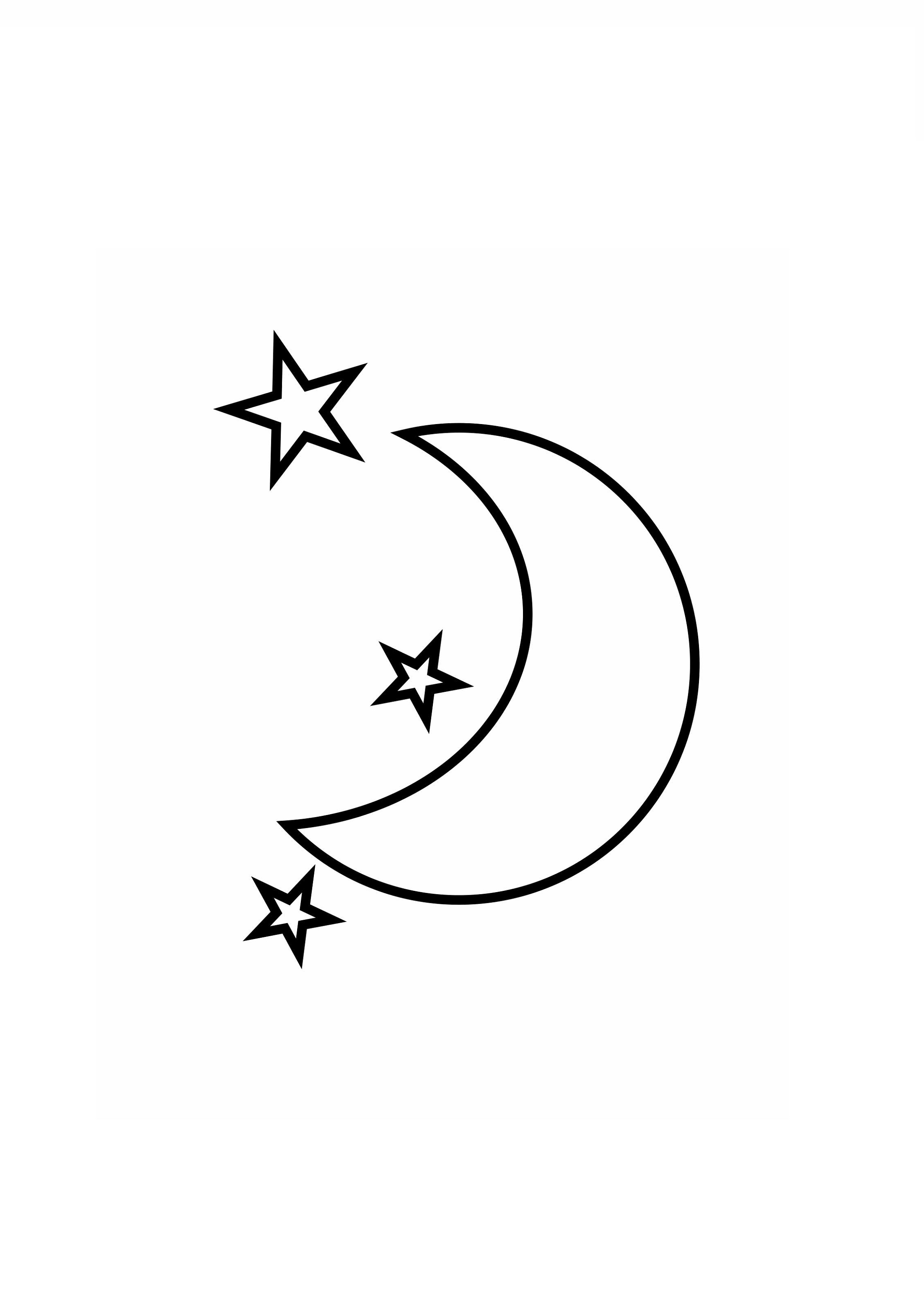 Half Moon And Stars Coloring Pages