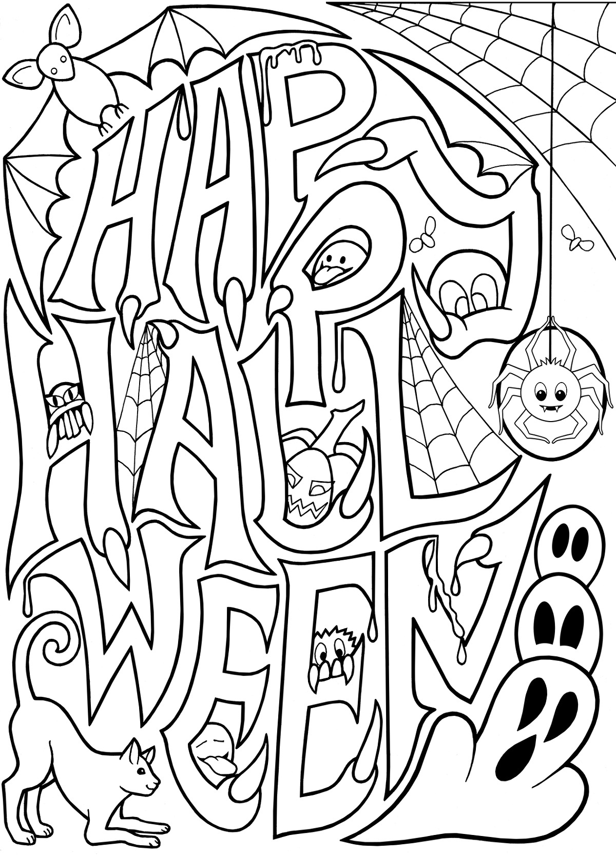 Halloween Coloring Pages For Adults Happy Halloween