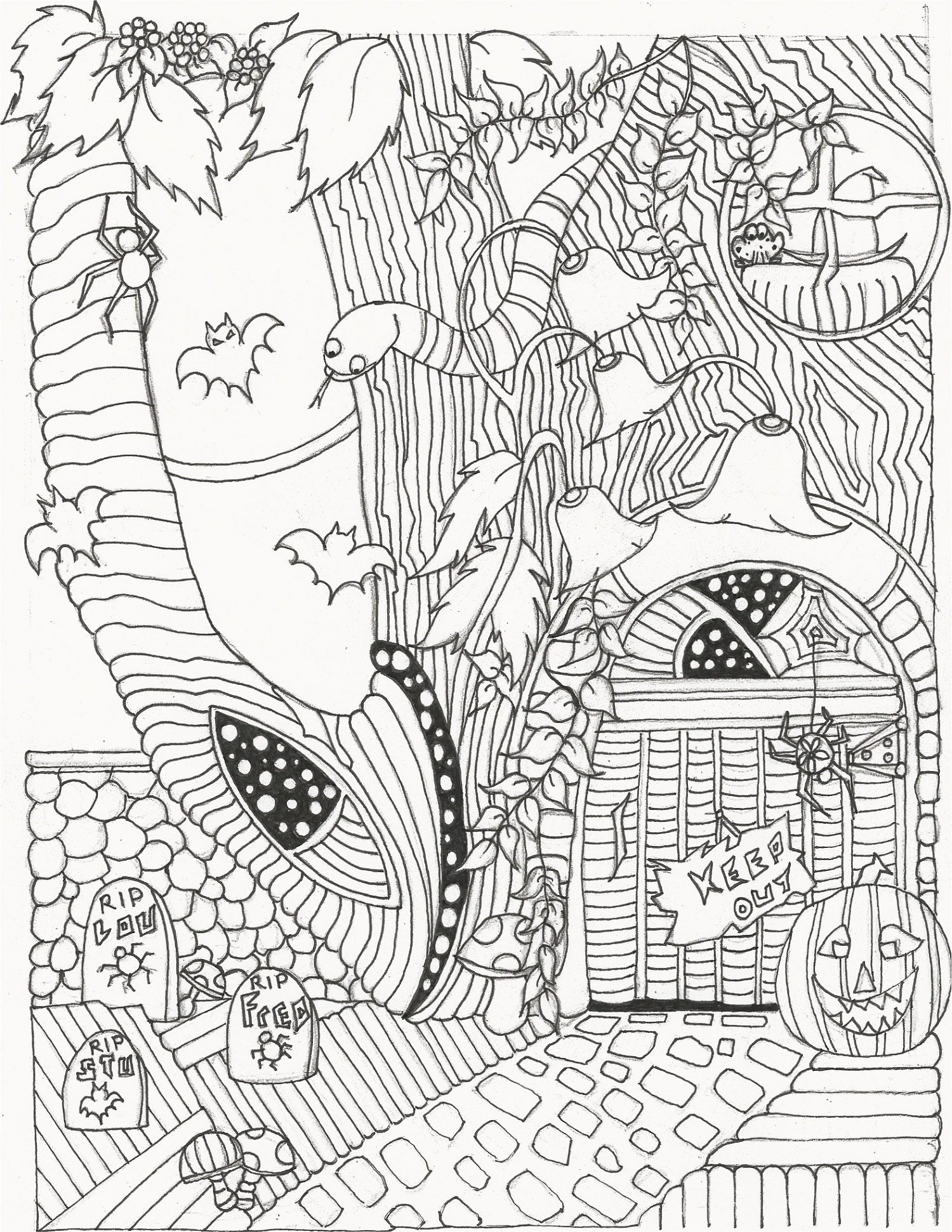 Halloween Coloring Pages For Adults Haunted House