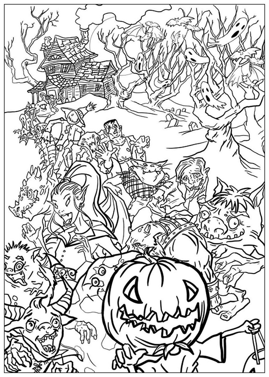 Halloween Coloring Pages For Adults Monsters