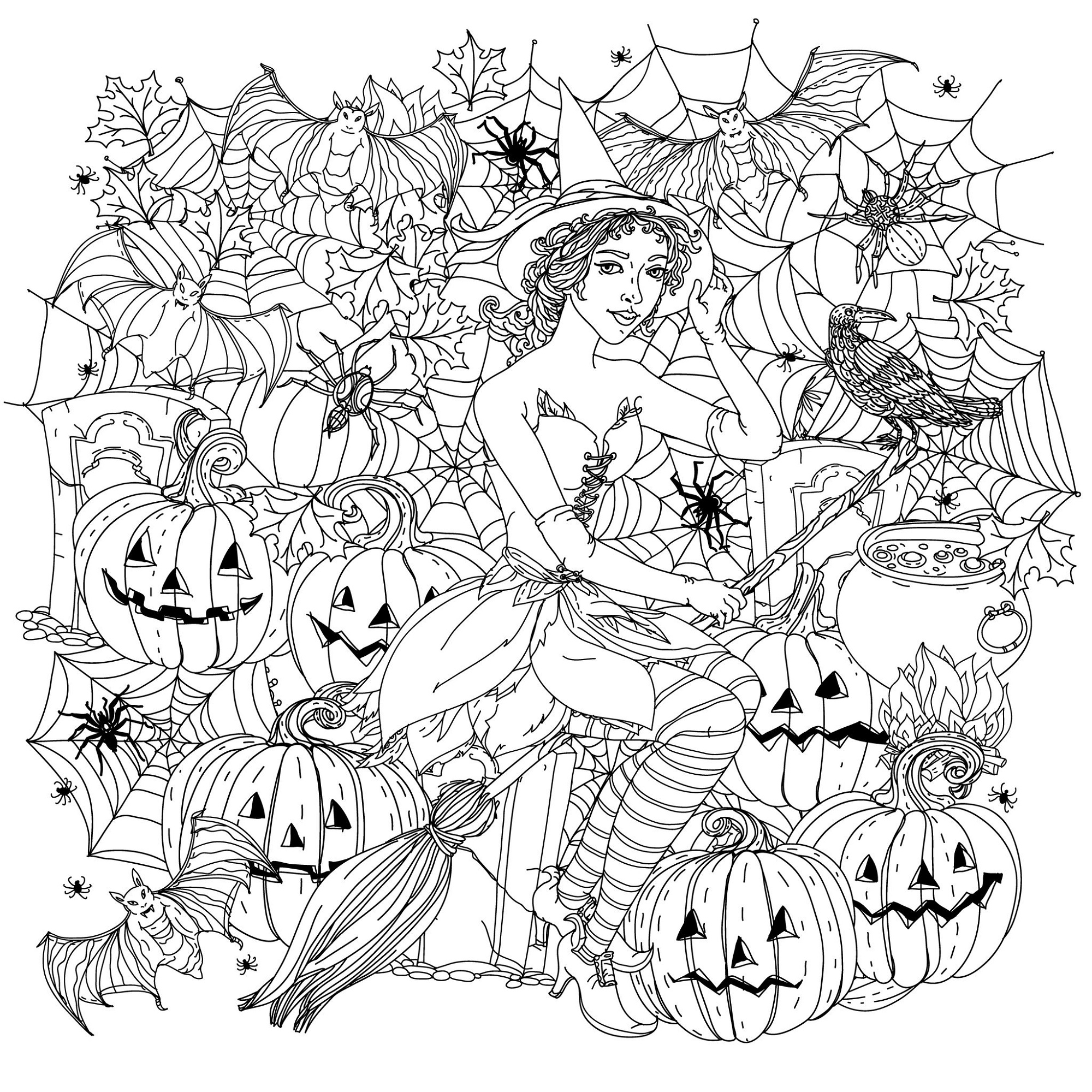 Halloween Coloring Pages For Adults Witch