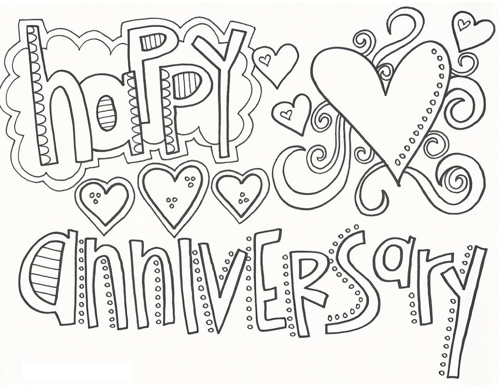 Happy Anniversary Coloring Page Doodle