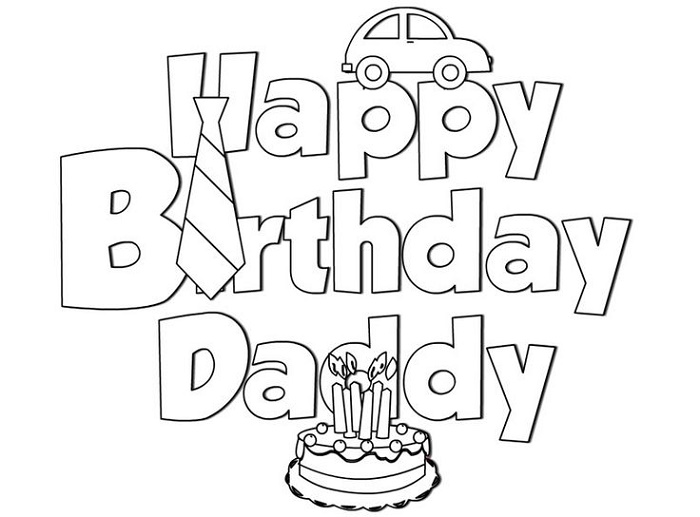 Happy Birthday Dad Coloring Pages Card