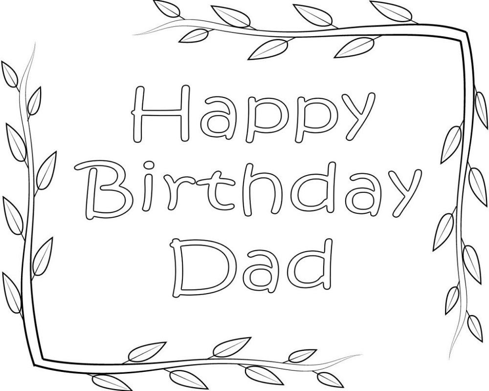 Happy Birthday Dad Coloring Pages Free