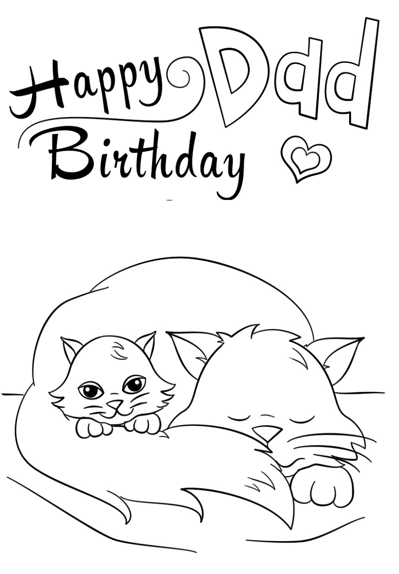 Happy Birthday Dad Coloring Pages Printable