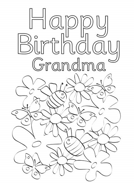 Happy Birthday Grandma Coloring Pages Cards
