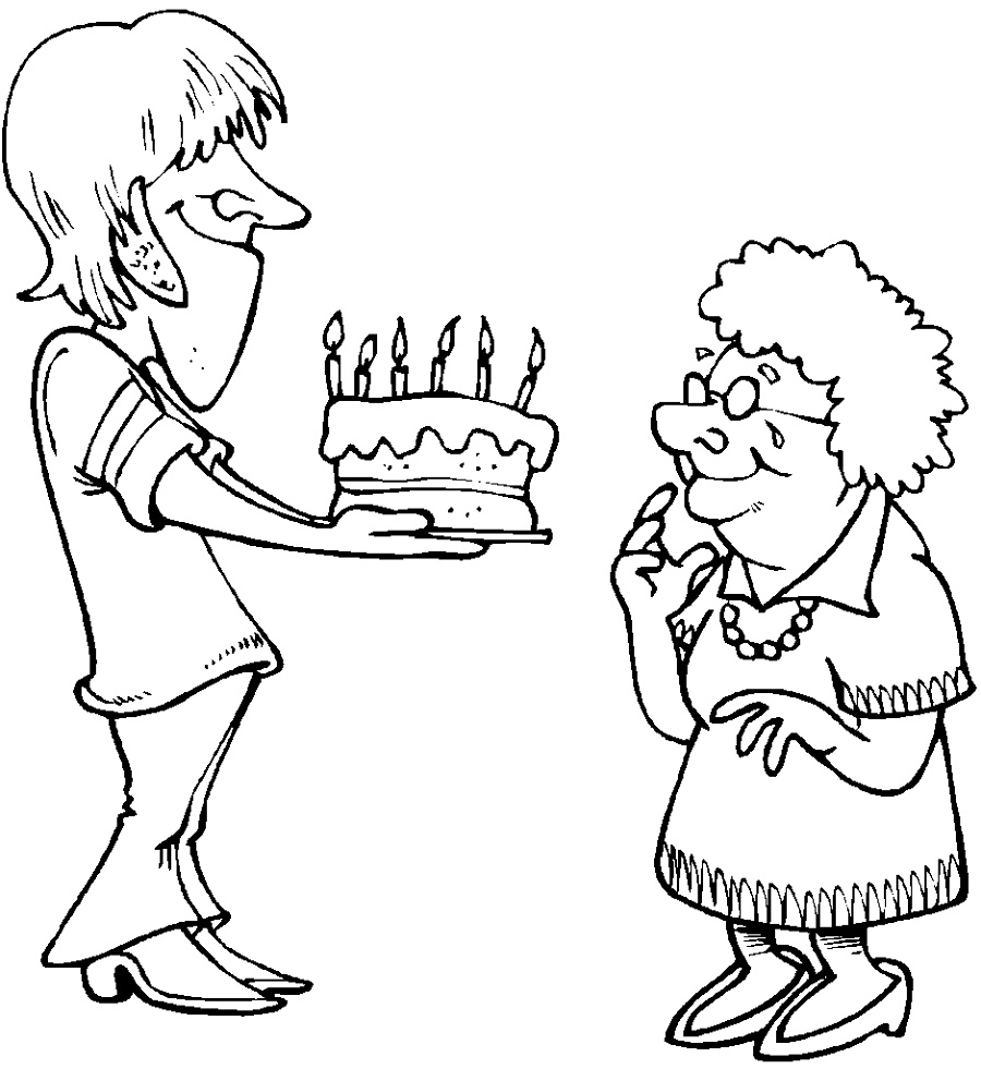 Happy Birthday Grandma Coloring Pages For Kids