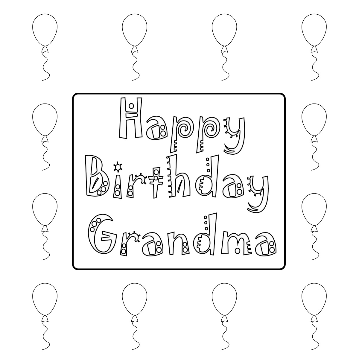 Happy Birthday Grandma Coloring Pages Free