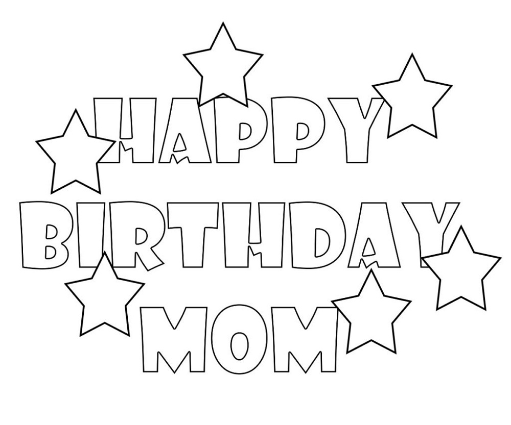 Happy Birthday Mom Coloring Page Card