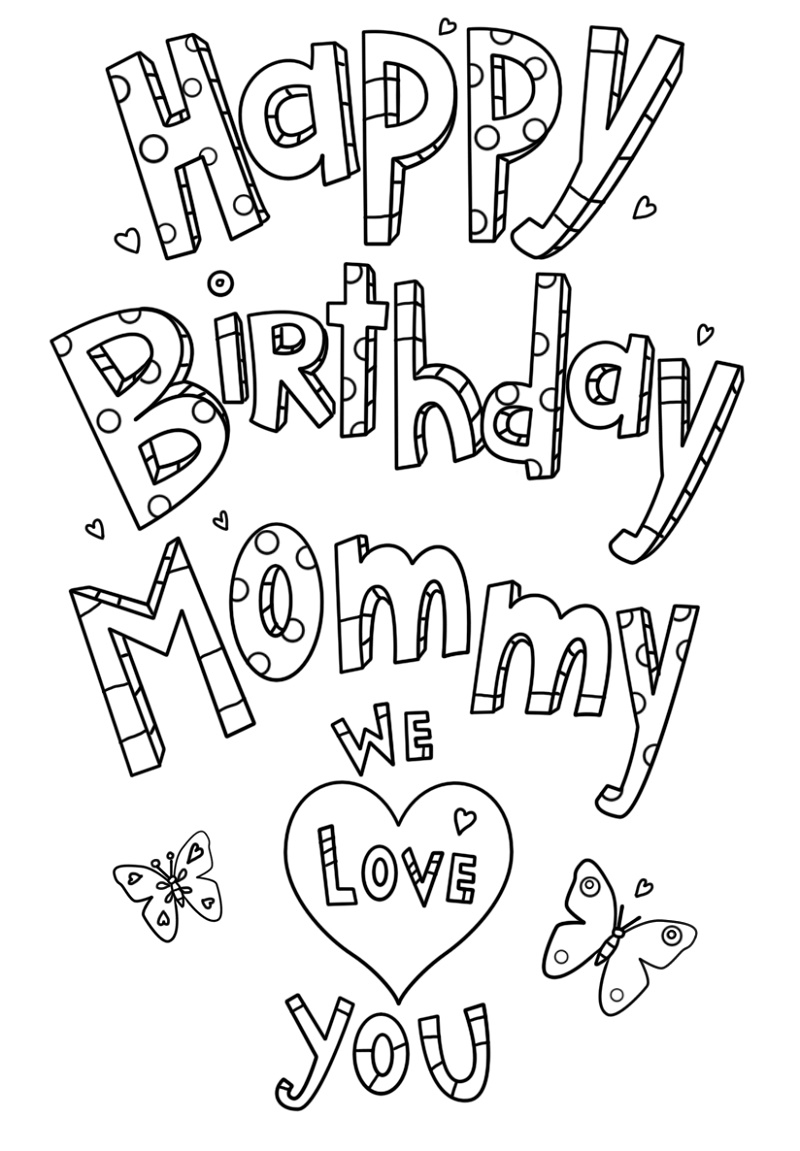 Happy Birthday Mom Coloring Page Doodle