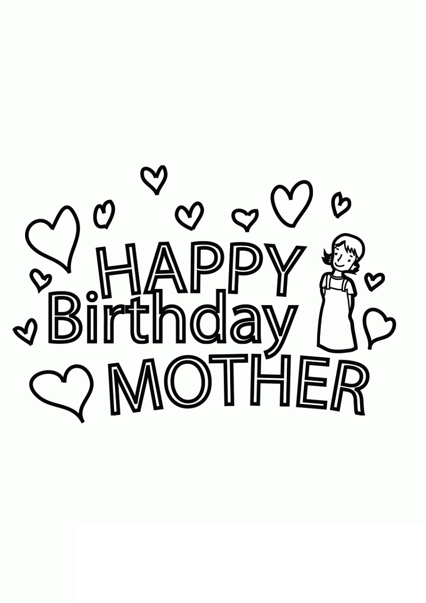 Happy Birthday Mom Coloring Page Pictures
